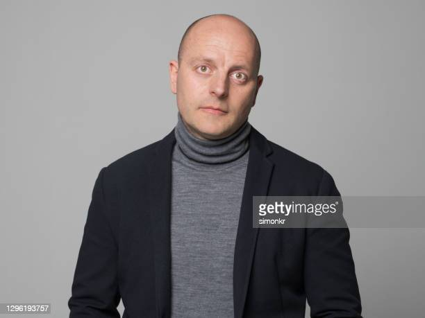 portrait of mature man - turtleneck stock pictures, royalty-free photos & images