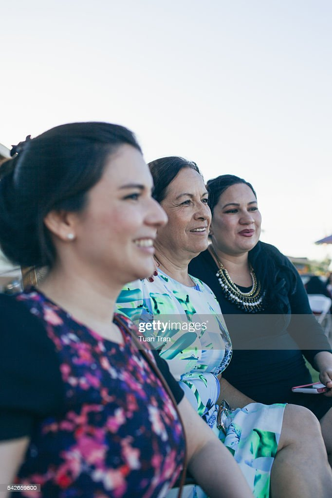 Portrait of mature mother with adult daughters : Stock Photo