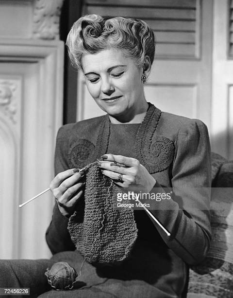 Portrait of mature woman crocheting