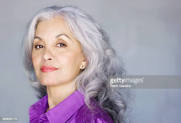 portrait of mature woman - gray hair stock pictures, royalty-free photos & images