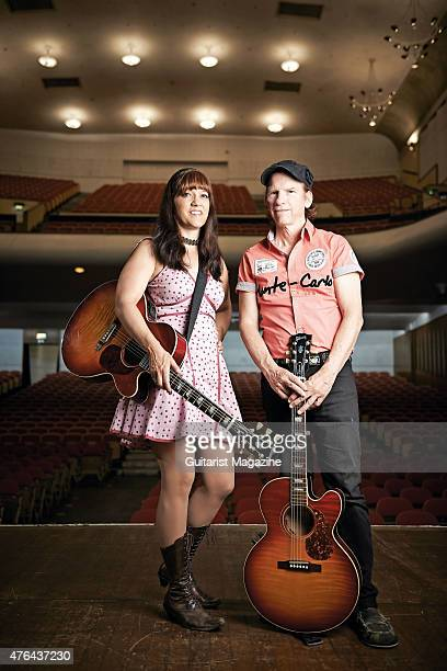 Portrait of Maura Kennedy and Pete Kennedy of American folk rock group The Kennedys photographed before a live performance at the Colston Hall in...