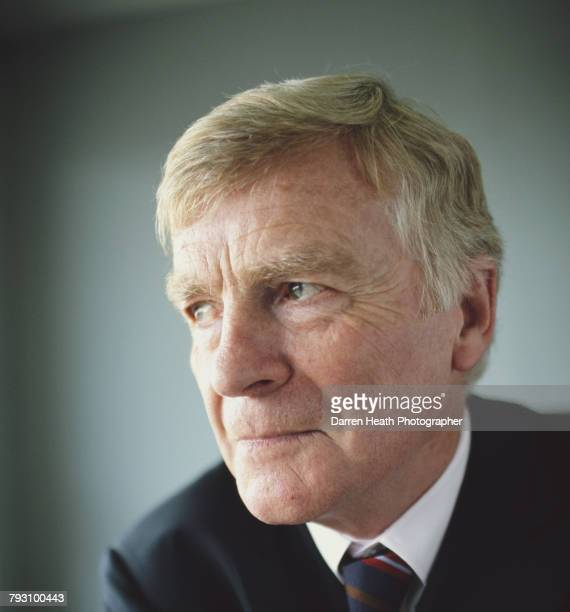 A portrait of Max Mosley president of the Federation Internationale de l'Automobile during the Formula One British Grand Prix on 10 July 2005 at the...