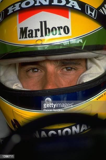 Portrait of McLaren Honda driver Ayrton Senna of Brazil before the Formula One testing at the Imola circuit in San Marino Mandatory Credit Pascal...