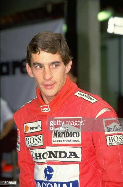 Portrait of McLaren Honda driver Ayrton Senna of Brazil before the Brazilian Grand Prix at the Rio circuit in Brazil. Senna was disqualified for...