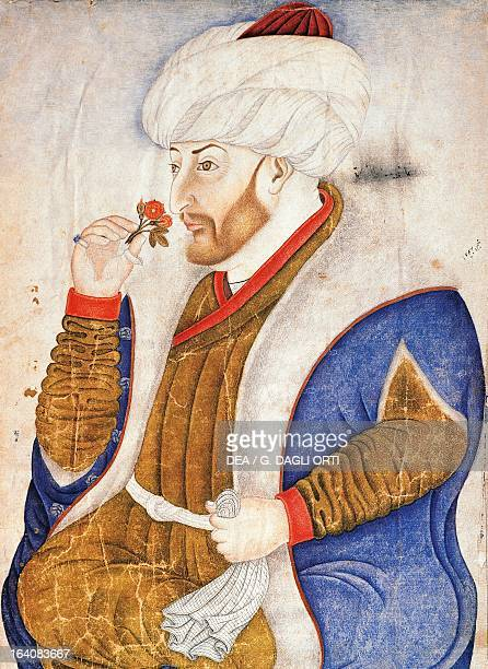 Portrait of Mehmed II or Sultan Mehmed the Conqueror Sultan of the Ottoman Empire Ottoman painting Istanbul Topkapi Sarayi Muzesi Kutuphanesi