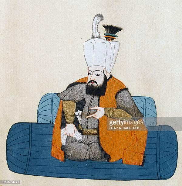 Portrait of Mehmet III Sultan of the Ottoman Empire illustration from Turkish Memories Arabic manuscript Cicogna Codex 17th century Venice Museo...