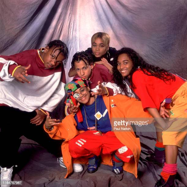 Portrait of members of American Hip Hop and R&B group Kriss Kross and TLC pose backstage during an appearance on an episode of the Oprah Winfrey...
