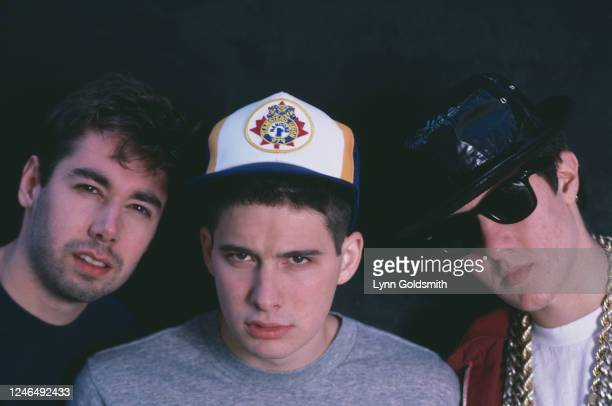 Portrait of members of American Rap group Beastie Boys, 1987. Pictured are, from left, Mike D , Ad-Rock , and MCA .