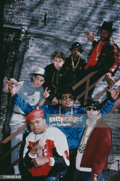 Portrait of members of American Rap groups Beastie Boys and Run-DMC, 1987. Pictured are Ad-Rock , DJ Hurricane , MCA , and Mike D , all of Beastie...