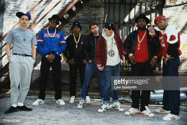 Portrait of members of American Rap groups Beastie Boys and Run-DMC, 1987. Pictured are Ad-Rock , MCA , Mike D , and DJ Hurricane , all of Beastie...