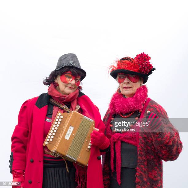 Portrait of members of Oxblood Molly Dancers at A Day of Dance the largest annual gathering of Molly dancers in the UK in Ely on 27th January 2018...