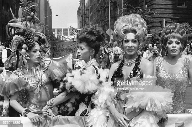 Portrait of members of STAR the Street Transvestites Action Revolutionaries who pose during the fourth annual Gay Pride Day March held on the...