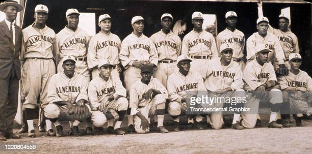 Portrait of members of the Almendares baseball team as they pose at Almendares Park, Havana, Cuba, 1927. Among those pictured are Oscar Charleston,...