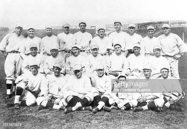 Portrait of members of the Boston Red Sox baseball team as they pose during spring training Hot Springs Arkansas March 1915 Among those pictured are...