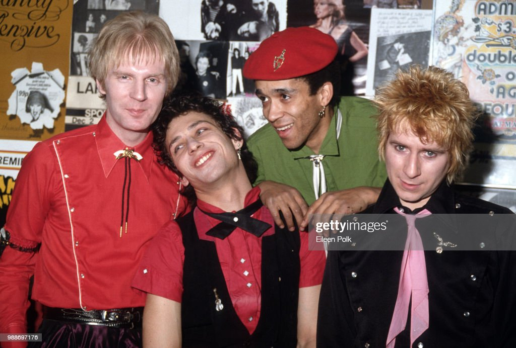 Portrait of members of the British-American punk group the Idols as they pose backstage at Max's Kansas City nightclub, New York, New York, 1979. Pictured are, from left, Arthur Kane (1949 - 2004), Steve Dior, Barry Jones, and Jerry Nolan (1946 - 1992).