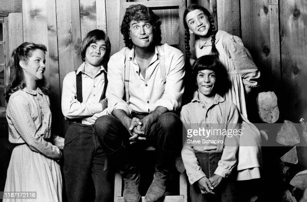 Portrait of members of the cast of the tv show 'Little House on the Prairie' as they make faces for the camera, California, 1978 or 1979. Pictured...