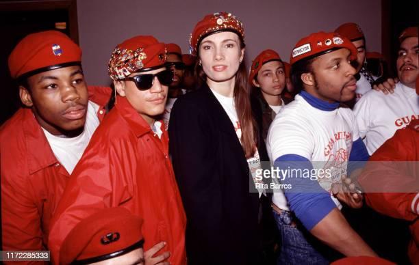 Portrait of members of the Guardian Angels among them American anticrime activist Lisa Sliwa New York New York 1987