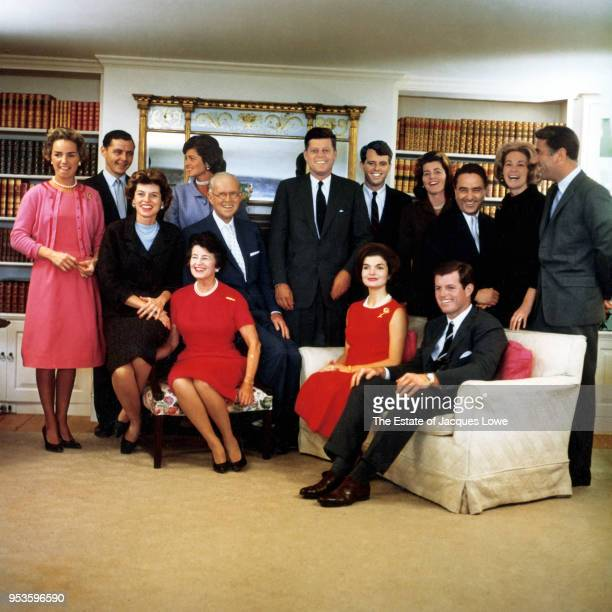 Portrait of members of the Kennedy family at their home on the night after John F Kennedy won the 1960 US Presidential election Hyannis Port...