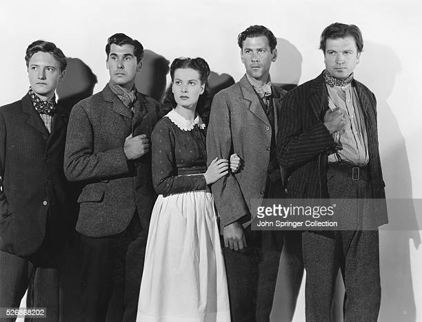 A portrait of members of the Morgan family in the 1941 film How Green Was My Valley From left to right actors Evan S Evans as Gwilym Morgan James...