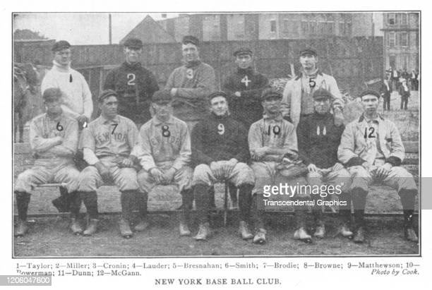 Portrait of members of the New York Giants baseball team New York New York 1902 Pictured are back row fron left Dummy Taylor Roscoe Miller Jack...
