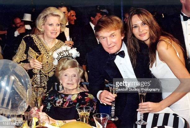 Portrait of members the Trump family as pose together during an event at the MaraLago estate Palm Beach Florida 1999 Pictured are from left sister...