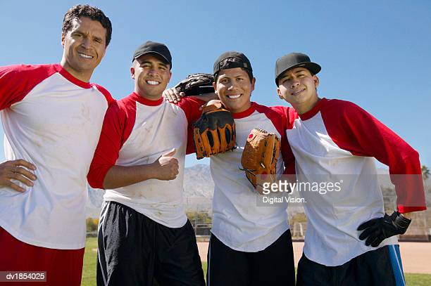 portrait of men in a baseball team - baseball team stock pictures, royalty-free photos & images