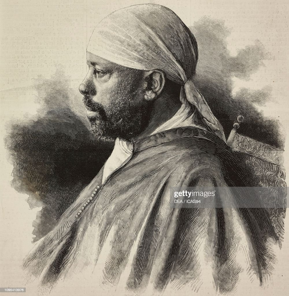 Portrait of Menelik II (1844-1913), engraving : News Photo
