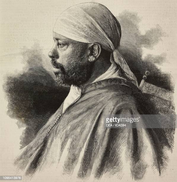 Portrait of Menelik II emperor of Ethiopia engraving from a photograph by Traversi from L'Illustrazione Italiana No 8 February 23 1890
