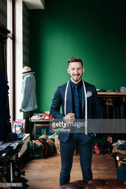portrait of menswear store owner - tailor stock pictures, royalty-free photos & images