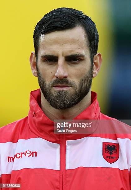 A portrait of Mergim Mavraj of Albania during the international friendly match between Austria and Albania at the Ernst Happel Stadium on March 26...
