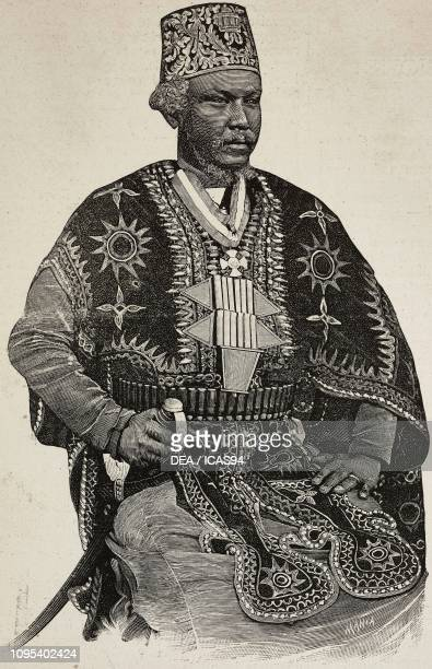 Portrait of Meshesha Worqe governor of Adwa Ethiopia engraving by Ernesto Mancastroppa from a photograph by Narick from L'Illustrazione Italiana year...