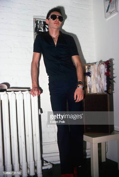 Portrait of Mexicanborn American graphic designer Arturo Vega as he poses at Nonson Gallery New York New York June 3 1978 He poses with some of his...