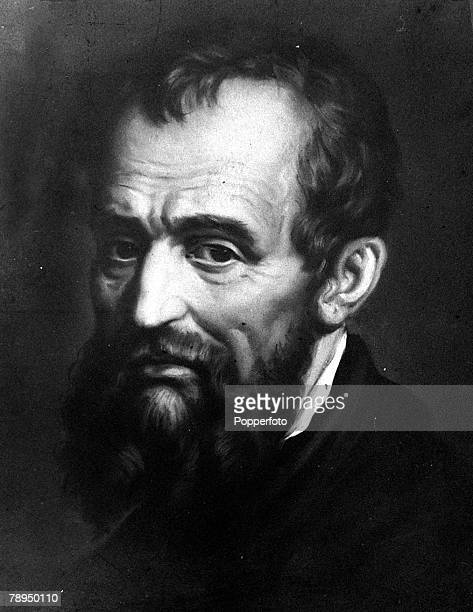 A portrait of Michelangelo Buonarroti the Florentine sculptor painter architect and poet one of the outstanding figures of the Renaissance