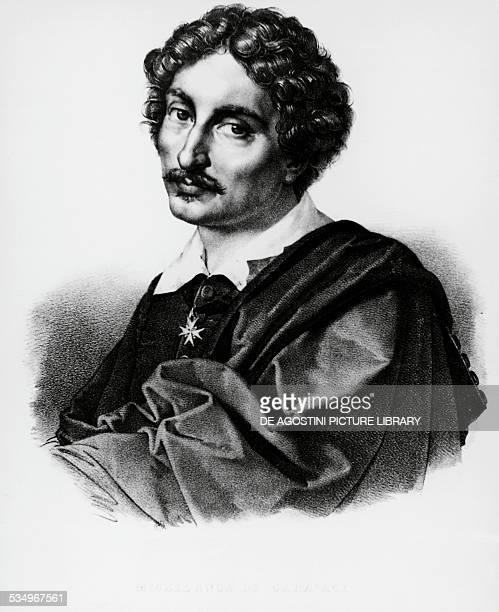 Portrait of Michelangelo Merisi known as Caravaggio Italian painter engraving