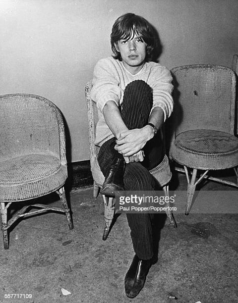 Portrait of Mick Jagger lead singer of 'The Rolling Stones' at Stockton England circa 1964