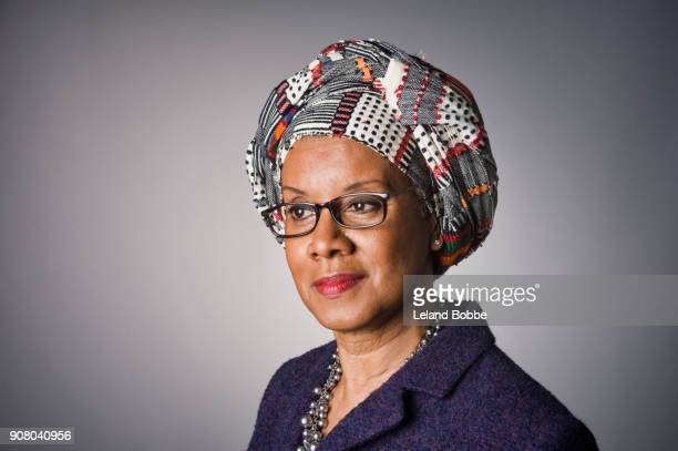 Portrait of Middle Age African American Woman Wearing a Gele