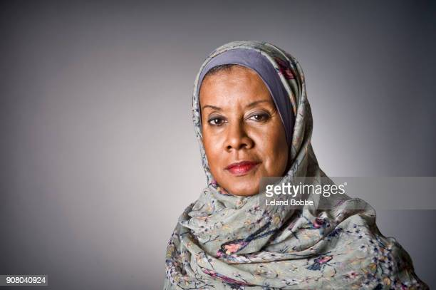 Portrait of Middle Age African American Woman wearing a Hijab