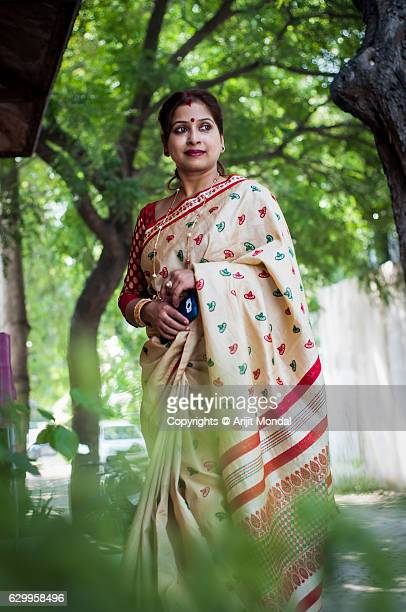 Portrait of Middle Age Indian Woman in Sari