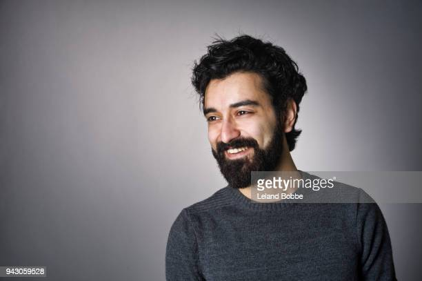 portrait of  middle eastern man with beard - vollbart stock-fotos und bilder