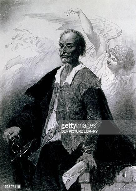 Portrait of Miguel de Cervantes Saavedra Lithograph by Celestin Nanteuil