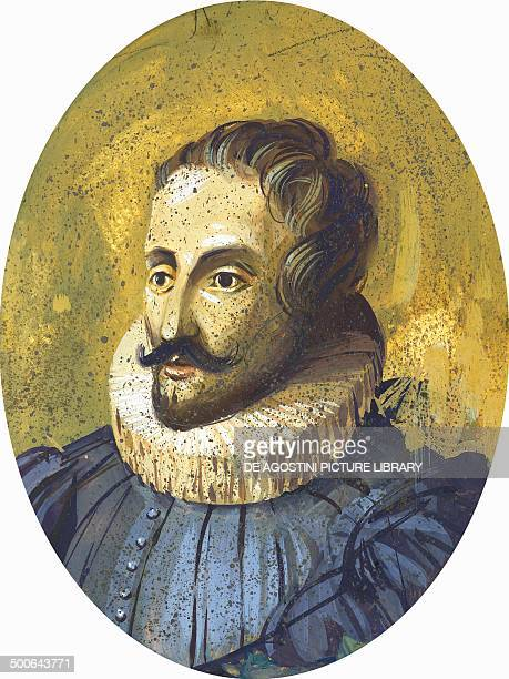 Portrait of Miguel de Cervantes Saavedra Spanish novelist playwright and poet illustration