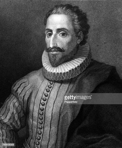 A portrait of Miguel de Cervantes the Spanish novelist playwright and poet who is best known for his book Don Quixote