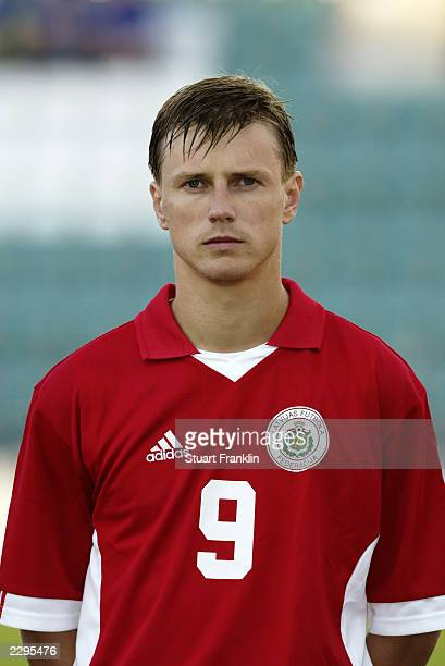 Portrait of Mihails Miholaps of Latvia taken during the Baltic Cup match between Latvia and Estonia held on July 5 2003 at the ALe Coq Arena in...
