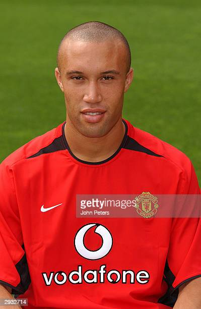 A portrait of Mikael Silvestre during the Manchester United official photocall at Old Trafford on August 11 2003 in Manchester England
