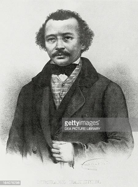 Portrait of Mikhail Alexandrovich Bakunin , Russian philosopher, revolutionary and theorist of collectivist anarchism. Engraving.