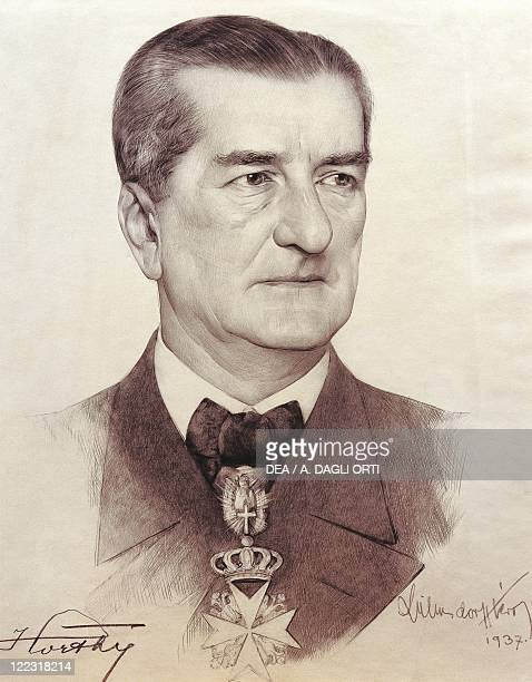Portrait of Miklos Horthy Hungarian admiral and statesman