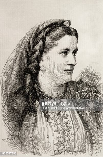 Portrait of Milena Vukotic or Milene of Montenegro illustration from the magazine The Graphic volume XIII no 346 July 15 1876