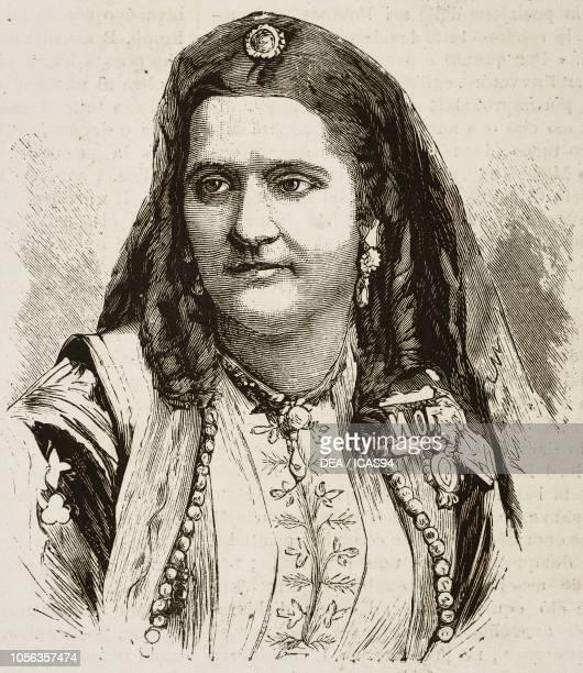 Portrait of Milena Vukotic queen consort of Montenegro engraving from L'Illustrazione Italiana No 39 July 23 1876