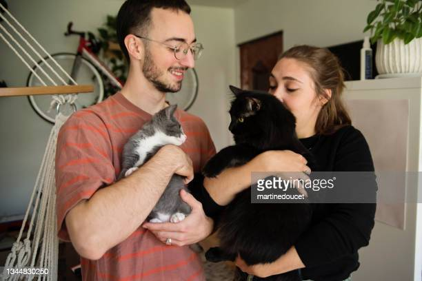 """portrait of millennial couple and newly adopted kitten at home. - """"martine doucet"""" or martinedoucet stock pictures, royalty-free photos & images"""