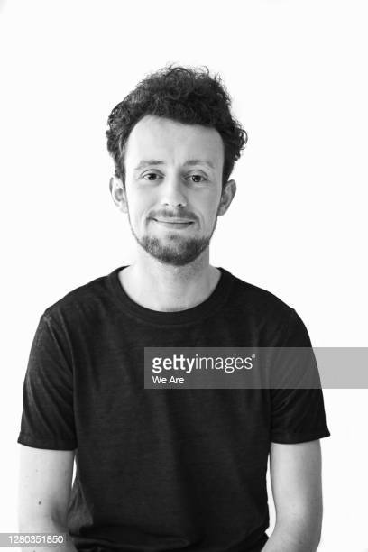 portrait of millennial man - black and white stock pictures, royalty-free photos & images